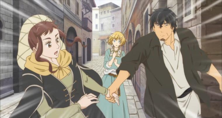 ルザンナの去り際に手を引き呼び止めるレオ