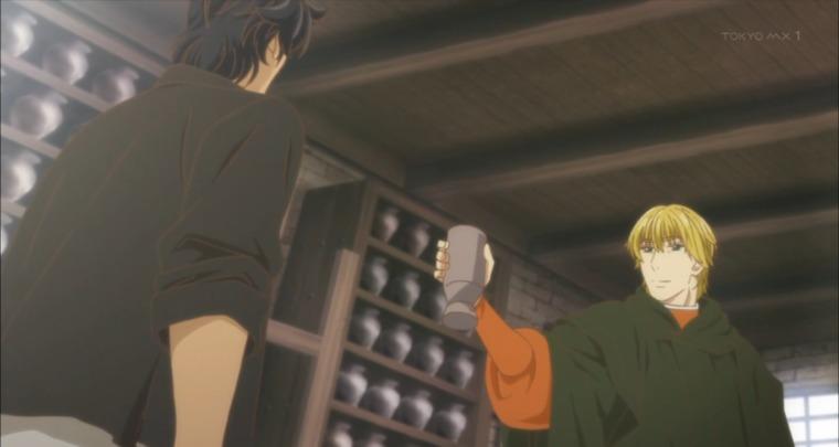 レオから出された飲み物を「ありがとう。おいしかったよ」というユーリ