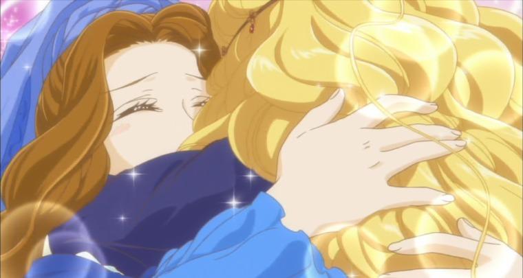 カタリーナを母として強く抱きしめるソフィア